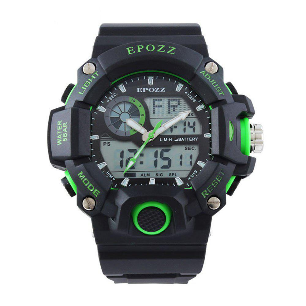 EPOZZ 2811 Dual Display Watch 50M Waterproof Alarm Clock LED Men Watch - GREEN