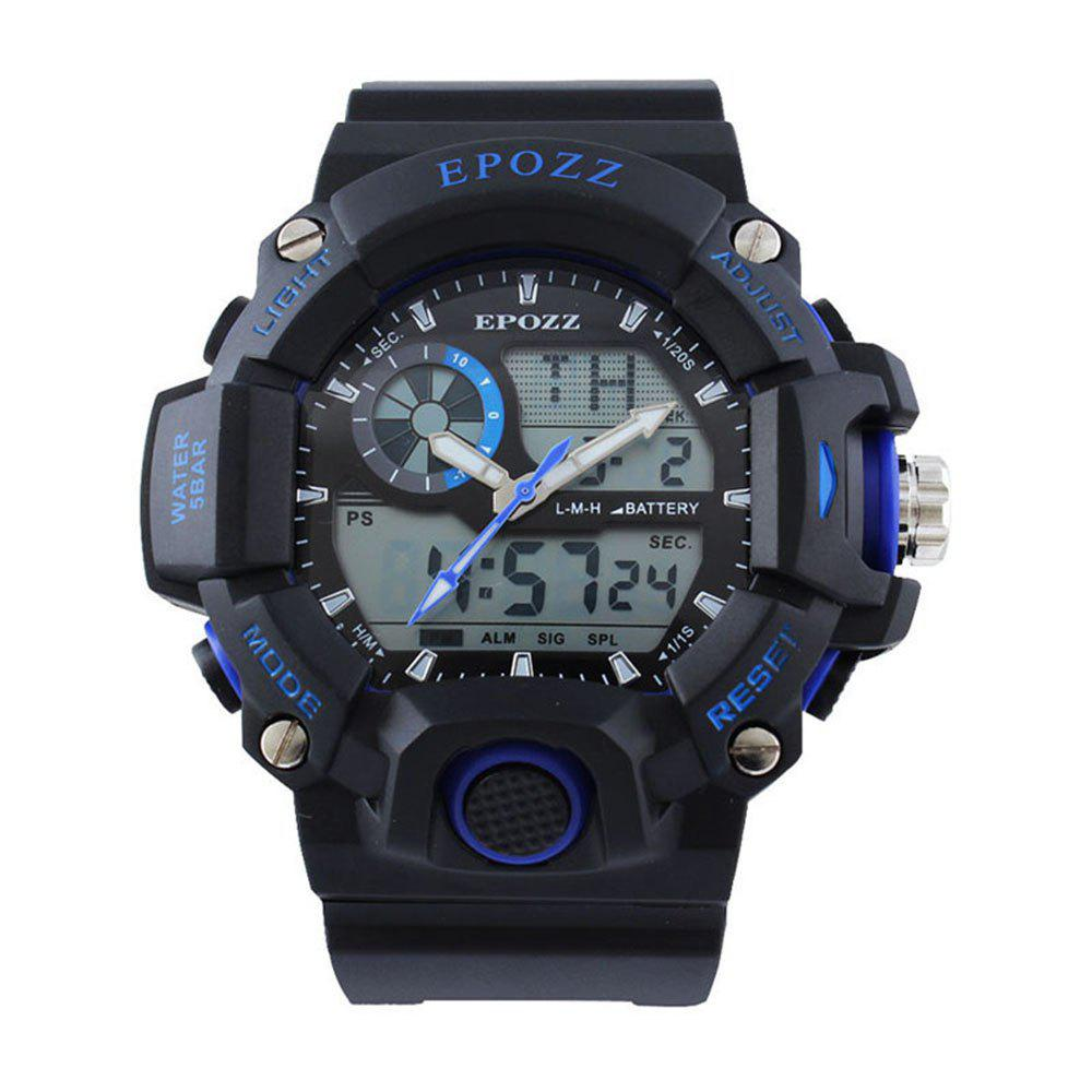 EPOZZ 2811 Dual Display Watch 50M Waterproof Alarm Clock LED Men Watch - BLUE