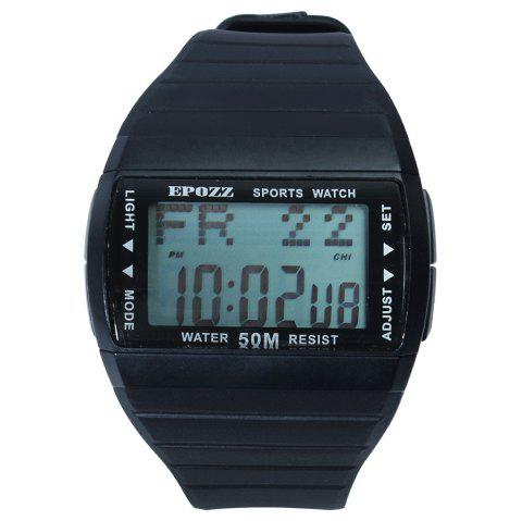 EPOZZ 1301 Dual Display Watch 50M Waterproof Alarm Clock LED Men Watch - BLACK