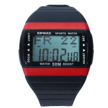 EPOZZ 1301 Dual Display Watch 50M Waterproof Alarm Clock LED Men Watch - BLACK&RED BLACK/RED