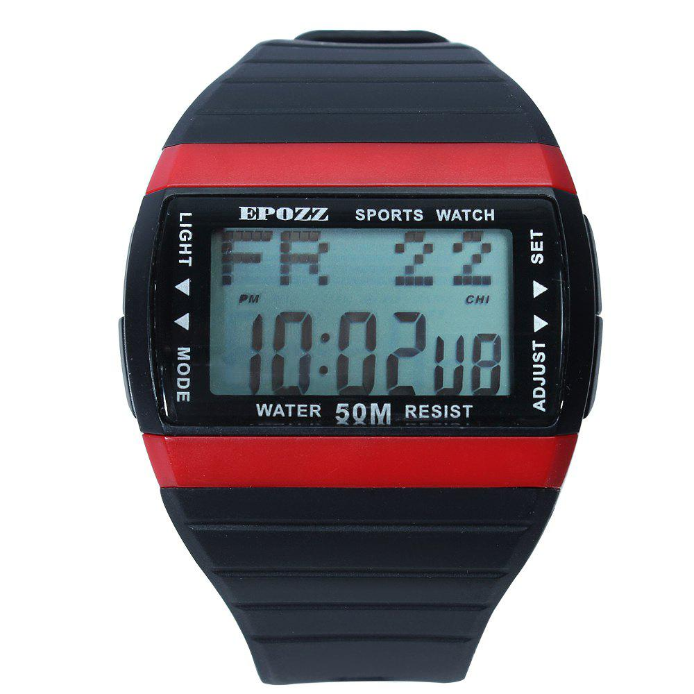EPOZZ 1301 Dual Display Watch 50M Waterproof Alarm Clock LED Men Watch - BLACK/RED