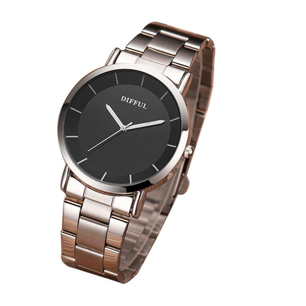 Factory Brand DIFFUL Alloy Package Couple Watches Male and Female Quartz Watches - SILVER FEMALE
