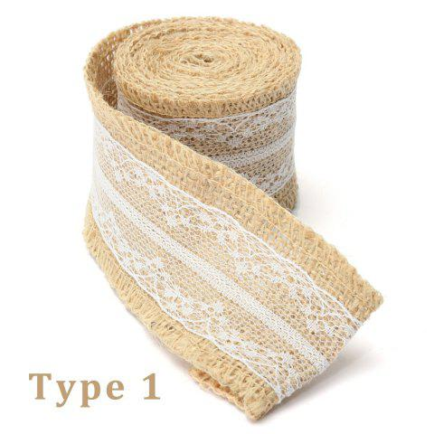 5 X 200CM Natural Jute Burlap Roll White Lace Hessian Trim Table Runner Wedding Home Decor DIY Craft - AS THE PICTURE 3