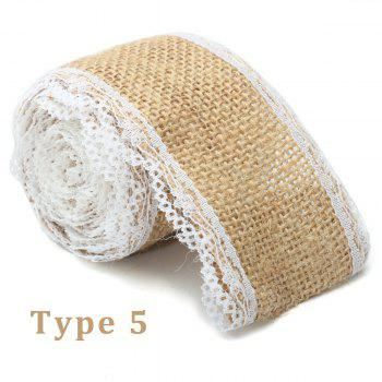 5X200CM Natural Jute Burlap Roll White Lace Hessian Trim Table Runner Wedding Home Decor DIY Craft - AS THE PICTURE 1