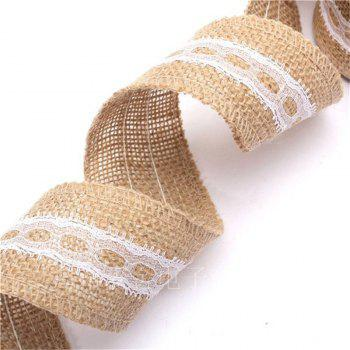 5X200CM Natural Jute Burlap Roll White Lace Hessian Trim Table Runner Wedding Home Decor DIY Craft - AS THE PICTURE 3