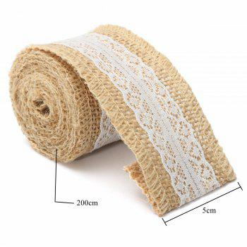 5X200 CM Naturel Jute Toile De Jute Rouleau Blanc Dentelle Hessian Garniture Table Runner De Mariage Décor À La Maison DIY Craft - Comme Photo 4