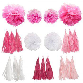 EASTERN HOPE 21Pcs Tassel Garland and Pom Party Decoration Set  for Baby Shower Wedding Party Home Decor (Color:Pink Ombre and White ) - PINK 21PCS
