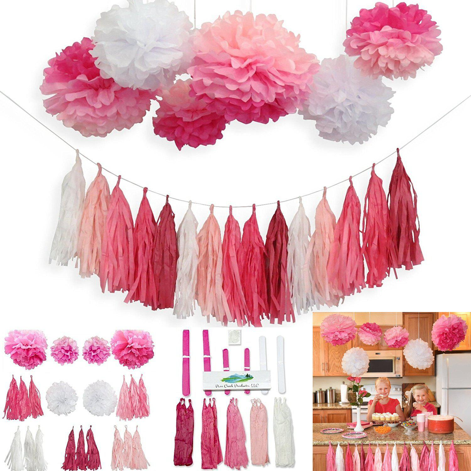 L'ESPOIR DE L'EST 21Pcs Guirlande Guirlande et Pom Partie Décoration Set pour Baby Shower Wedding Party Home Decor (Couleur: Rose Ombre et Blanc) - ROSE PÂLE 21PCS