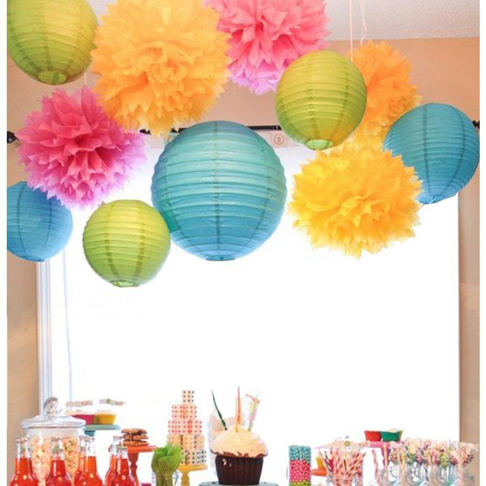 Pack of 11 Mixed Royal Yellow Blue Green Paper Lanterns Tissue Paper Pom Pom Flowers for Summer Party Wedding Valentinenurses Nursery Hanging Decor - multicolorCOLOR 11PCS