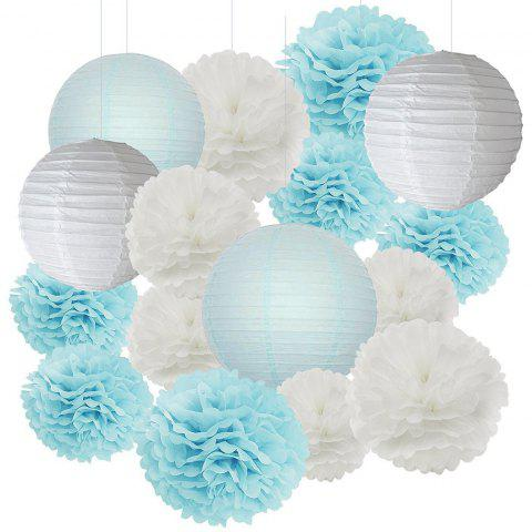 EASTERN HOPE 16 Pcs Tissue Pom Pom Flower and Paper Lantern Party Favors Wedding Birthday Decor Baby Shower Decorations White and Baby Blue Mixed - BLUE 16PCS