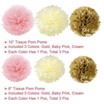 EASTERN HOPE 19Pcs Happy Birthday Decorations Banner Hanging Tissue Paper Pom Poms Paper Flowers Rose Hanging Decoration - multicolorCOLOR 19PCS