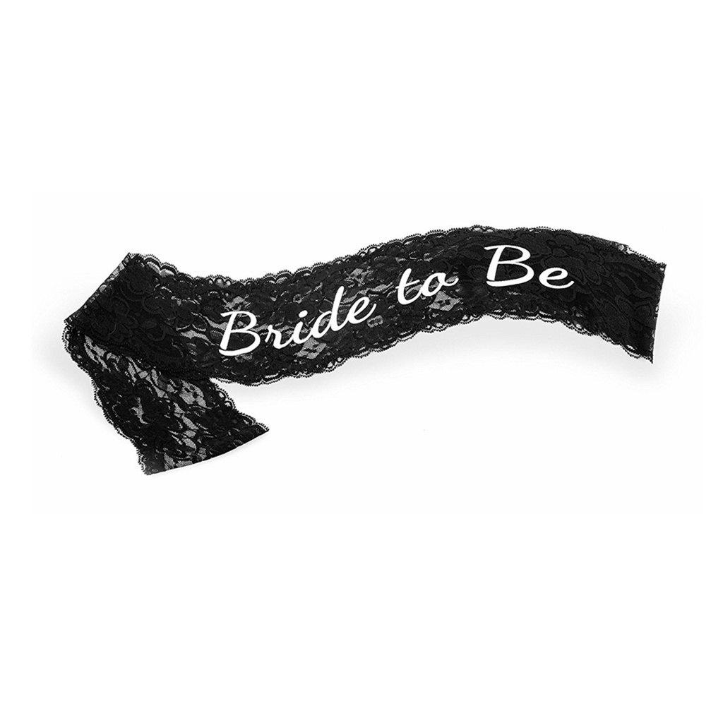 Eastern Hope Elegant Black Lace Bride to Be Wedding Sash - BLACK