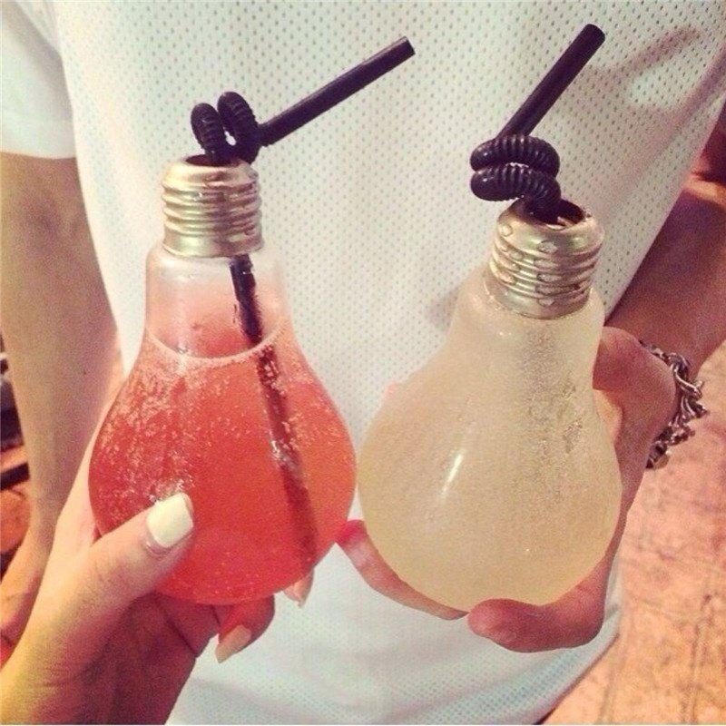 Fashion Creative Light Bulb Shaped Bottle Drink Cup Water Bottle Hanging Decor - TRANSPARENT 400 ML
