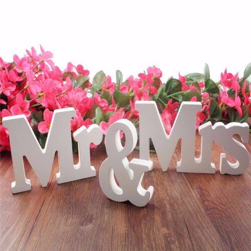 Mr & Mrs Wooden Letters Sign Wedding Decoration Romantic Mariage Birthday Party Home Decor - WHITE MR & MRS