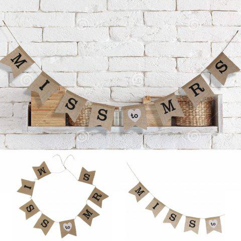 1pc Miss To Mrs Natural Burlap Banner for Wedding Party Decoration - BROWN