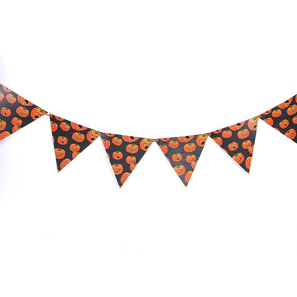 Halloween Triangle Flag Party Scene Bar Devil Festival Decoration Hanging Decor for Halloween - RED 1 SET