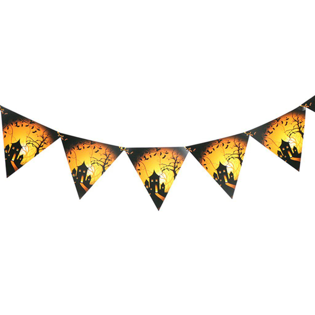 Halloween Triangle Flag Party Scene Bar Devil Festival Decoration Hanging Decor for Halloween - ORANGE 1 SET