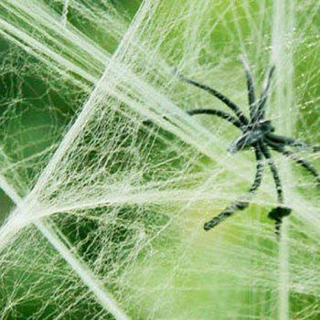 Halloween Spider Cotton Spider Web Accessories Haunted House Tranquil Decorative Props for Halloween Decor - GREEN 1 BAG