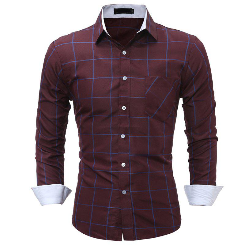 Image of Men Casual Plaid Shirt Pocket Long Sleeve Slim Comfortable Shirt Casual Style Shirt Shirt