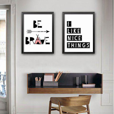 2018 Special Design Frame Paintings Good Things Print 2PCS In BLACK ...