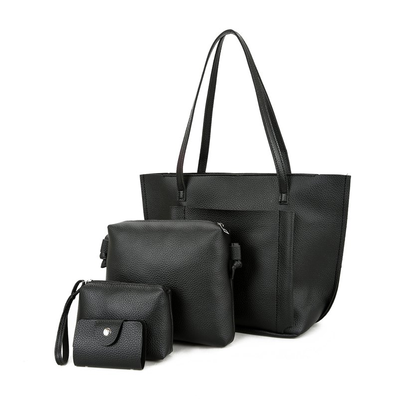 Four Pieces of New Simple Tote Bag Handbag - BLACK