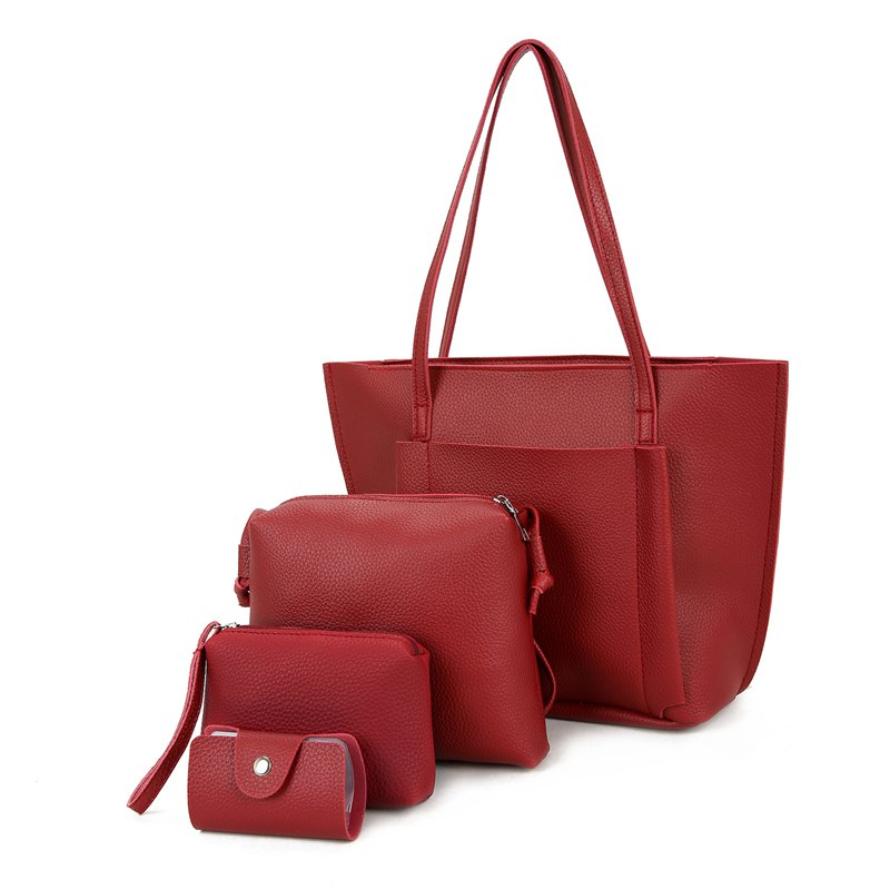 Four Pieces of New Simple Tote Bag Handbag - WINE RED