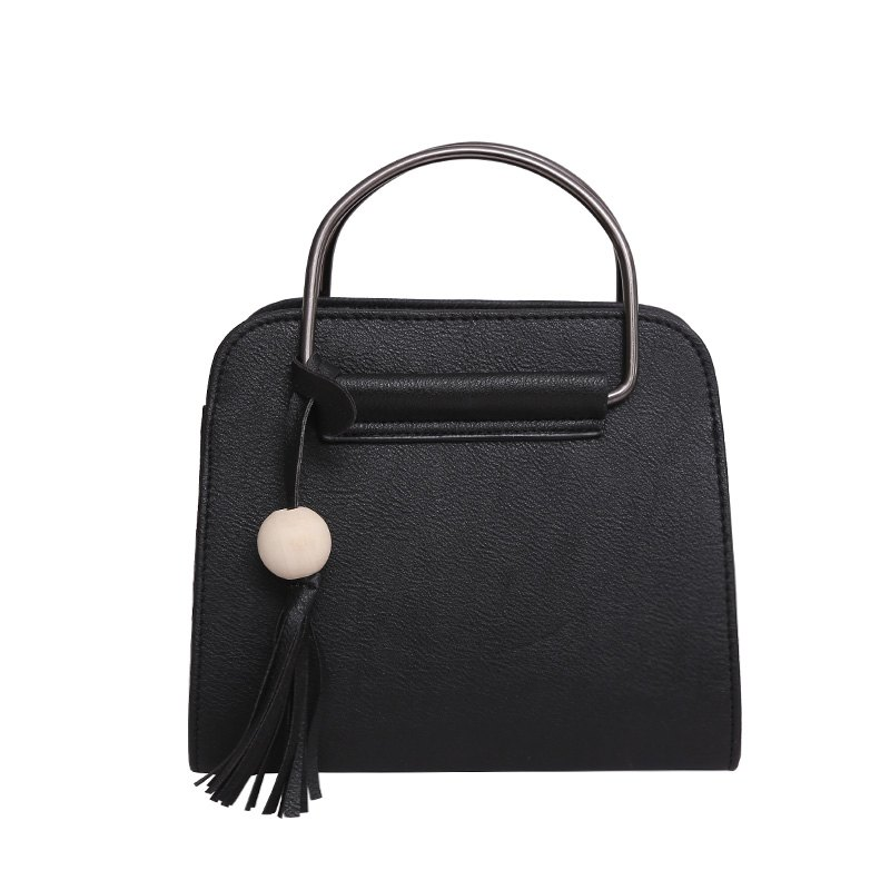 Simple Tassel Shell Bag Shoulder Messenger Bag Handbag - BLACK
