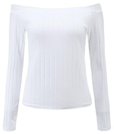 Off The Shoulder Knit Crop Top - WHITE S