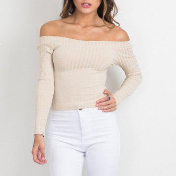Off The Shoulder Knit Crop Top - BEIGE M