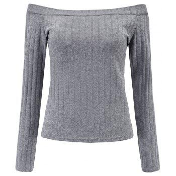 Off The Shoulder Knit Crop Top - GRAY S
