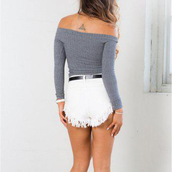 Off The Shoulder Knit Crop Top - GRAY XL