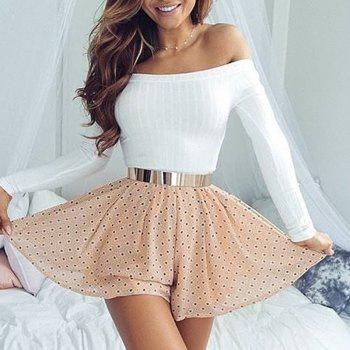 Off The Shoulder Knit Crop Top - WHITE M