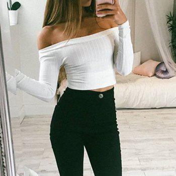 Off The Shoulder Knit Crop Top - WHITE XL