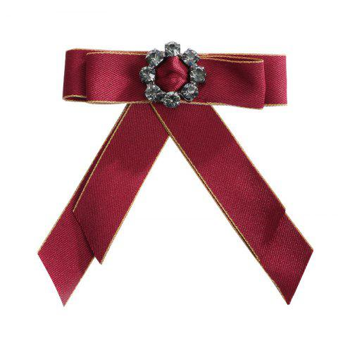 Europe and The United States Court Clothing Accessories Corsage Ribbon Bow Brooch Crystal Mosaic Flowers - RED