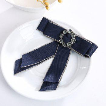 Europe and The United States Court Clothing Accessories Corsage Ribbon Bow Brooch Crystal Mosaic Flowers - BLUE