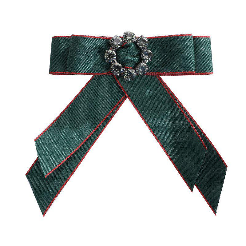 Europe and The United States Court Clothing Accessories Corsage Ribbon Bow Brooch Crystal Mosaic Flowers - GREEN