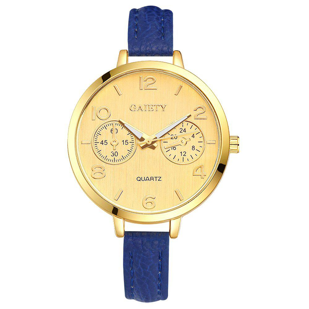 GAIETY G333 Women Simple Golden Dial Leather Band Quartz Watches