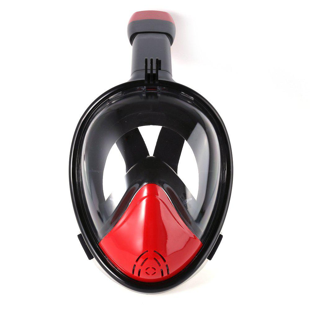 M2098G+180 Degree Panoramic View+Snorkel Mask+Black and Red - multicolor A