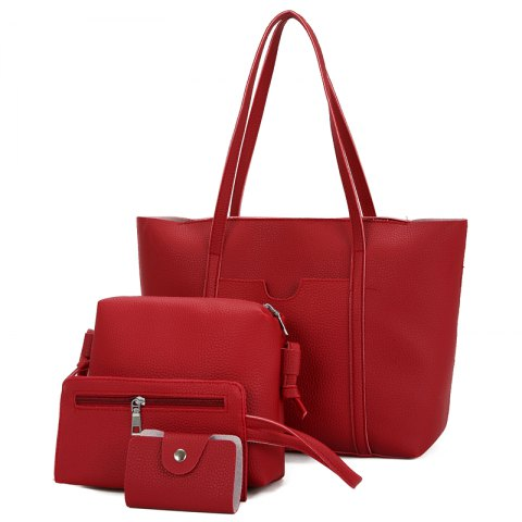 Sac à bandoulière portatif simple Sac à bandoulière multi-usages Litchi Pattern Ladies - Rouge