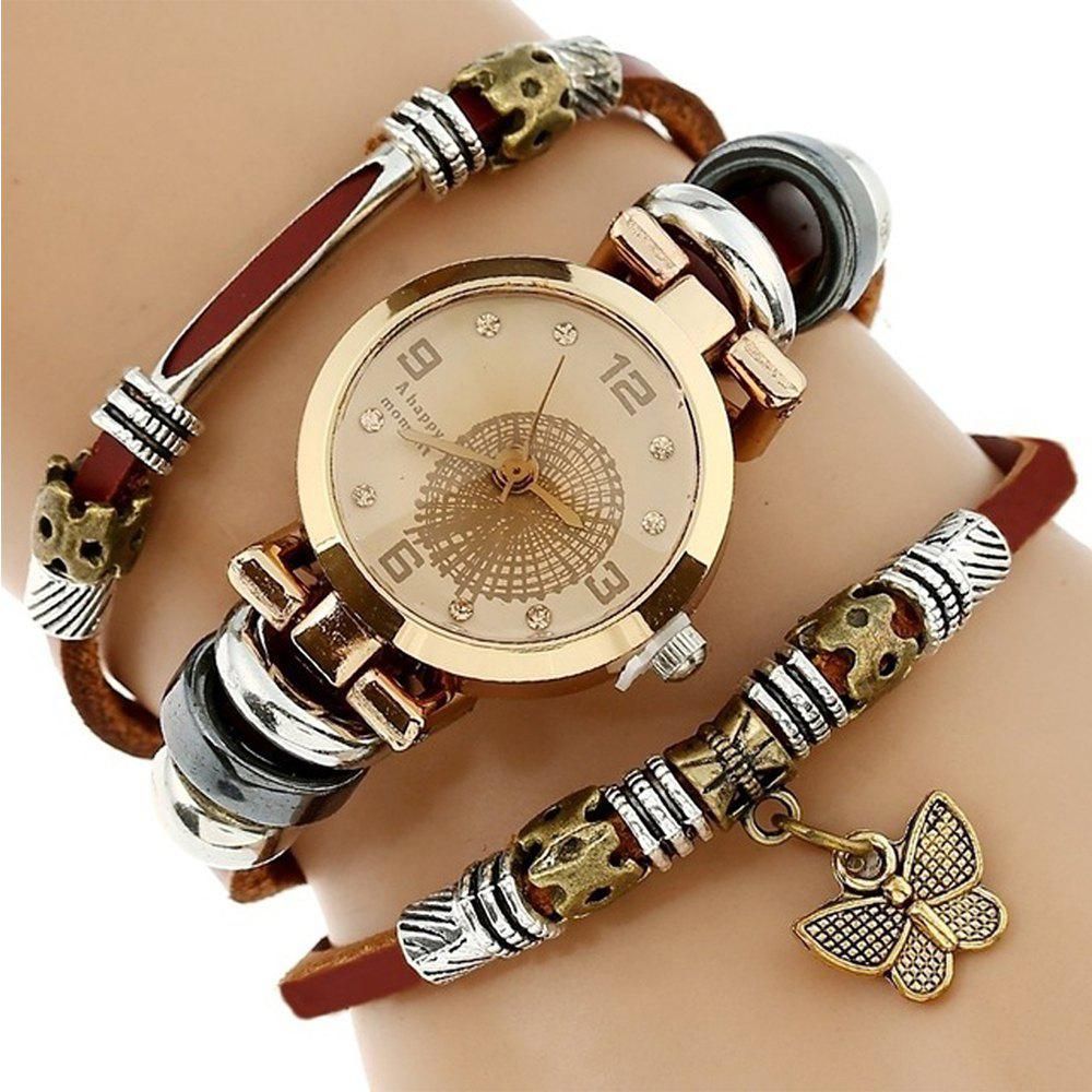 New Fashion Women Lady Wrist Bracelet Leather Watch With Retro Black Dial - BROWN