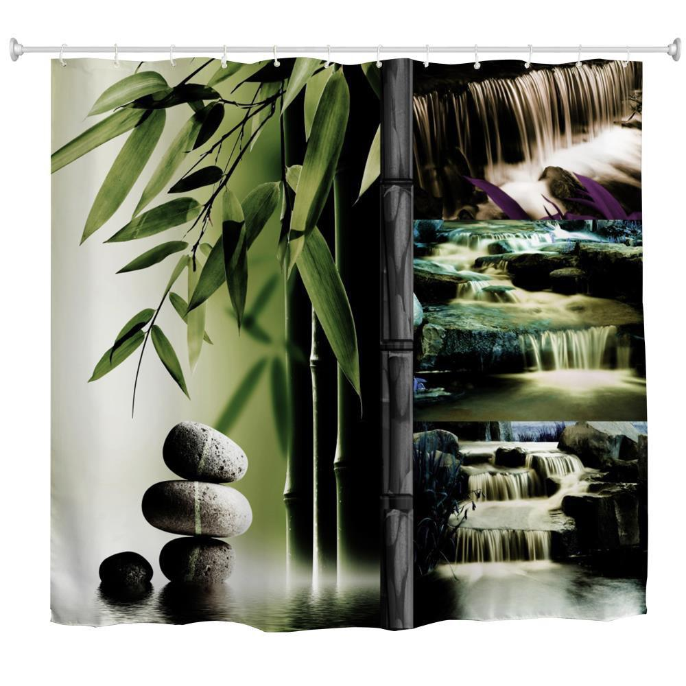 2018 bamboo waterfall polyester shower curtain bathroom for Waterfall design definition