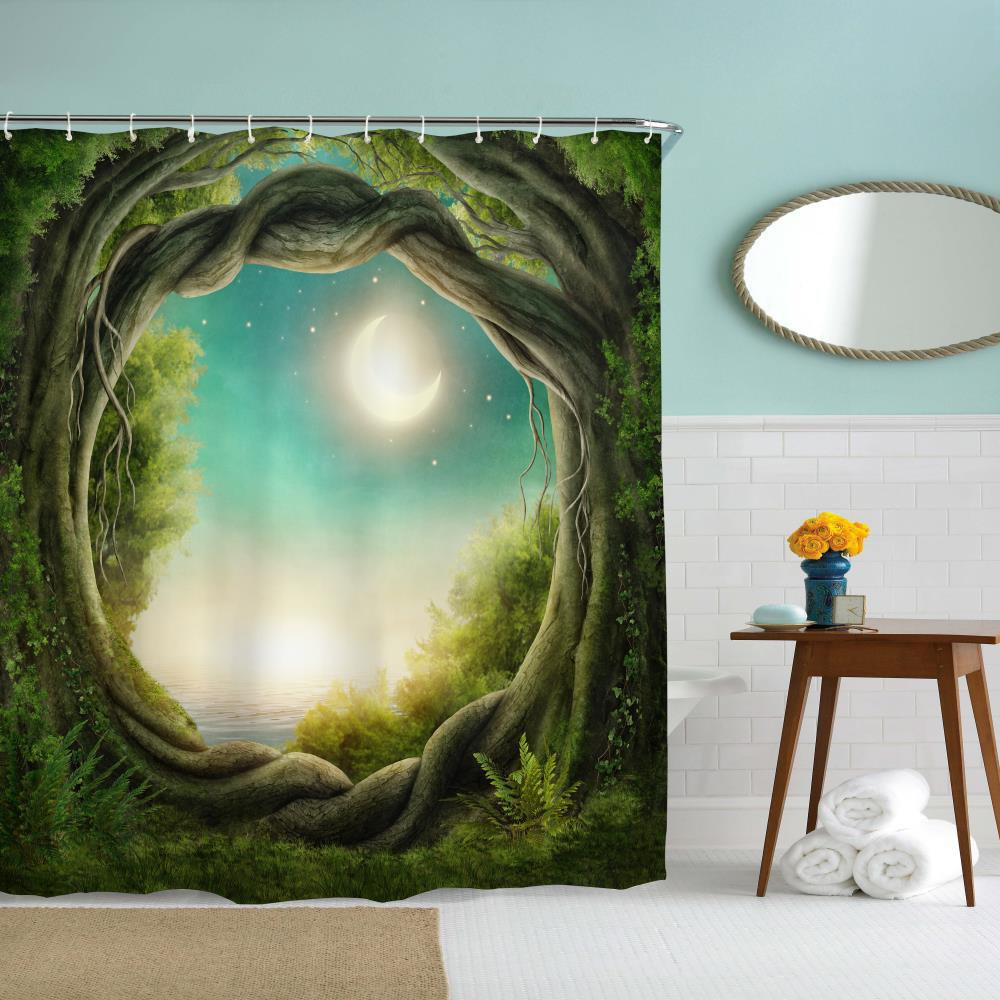 2018 fantasy forest polyester shower curtain bathroom for Fantasy shower curtains