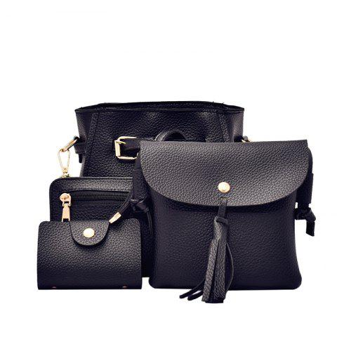 Retro Little Litchi Four Pieces Shoulder Bag Messenger Bag - BLACK
