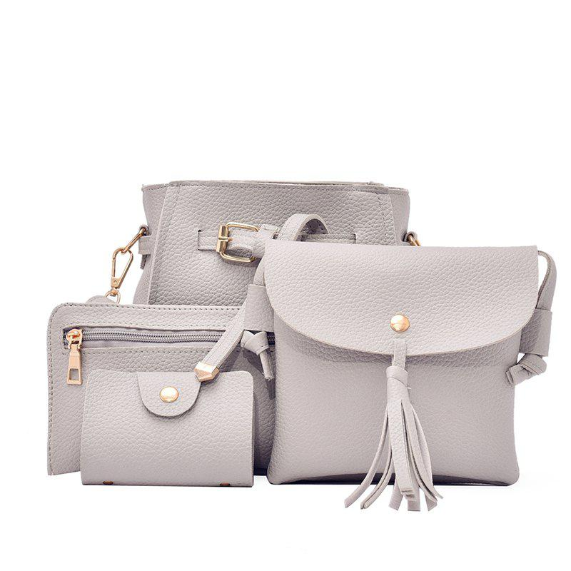 Retro Little Litchi Four Pieces Shoulder Bag Messenger Bag - GRAY
