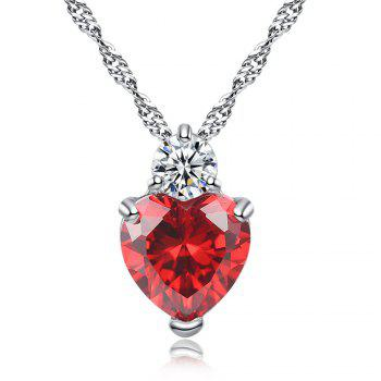Zircon Heart Pendant Womens Jewelry - RED RED