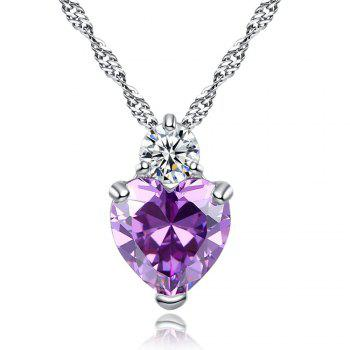 Zircon Heart Pendant Womens Jewelry - PURPLE
