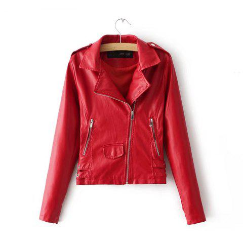 Women Baisc PU Leather Motorcycle Jacket Candy Colors Casual Solid Coat Zipper Pockets Outerwear Chic Tops - RED L