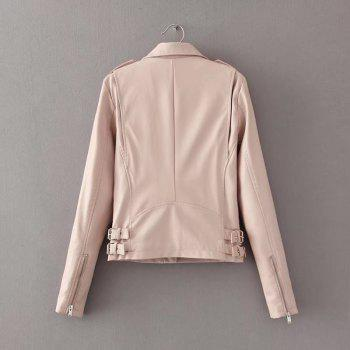 Women Baisc PU Leather Motorcycle Jacket Candy Colors Casual Solid Coat Zipper Pockets Outerwear Chic Tops - PINK XL