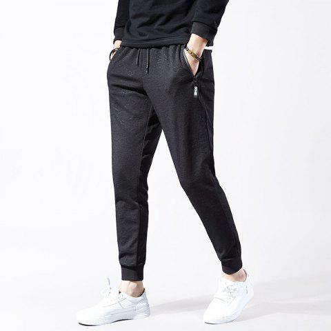 7cfe0a5d680 Men S Waterproof Zipper Pocket Solid Color Sports and Leisure Pants - BLACK  2XL