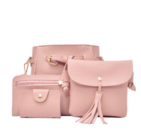 Simple Fashion Bag Female Bag Litchi Pattern Belt Four-Piece Bucket Bag - PINK